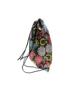 plecak wodoodporny czarny w kwiatki 15L