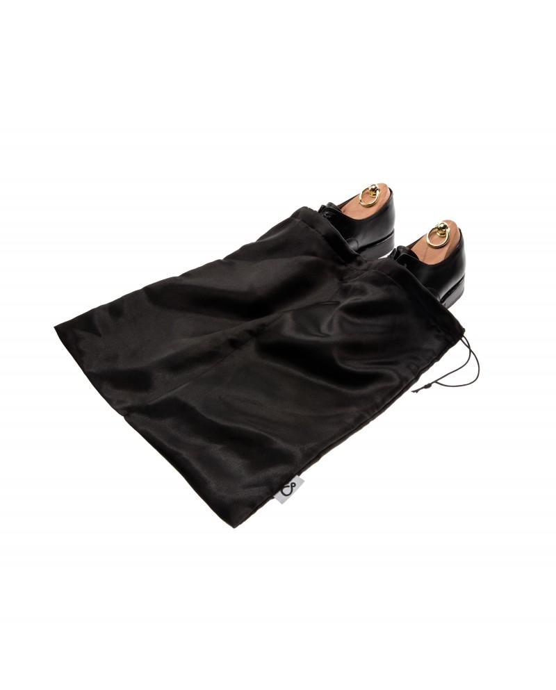 Worek dwukomorowy na buty czarny satynowy