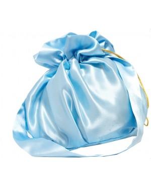 Torebka z rączką niebieska satyna