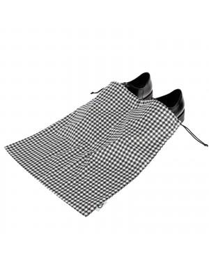 Worek dwukomorowy na buty wzór kratka czarno biała